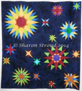 Mariner's Compass Bliss - hand pieced compasses designed and sewn by Sharon Stroud