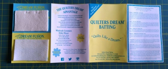 Quilters Dream Batting sample card